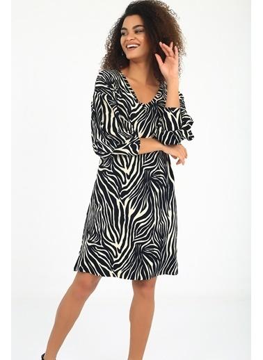 Emjey Balon Kol V Yaka Elbise Zebra